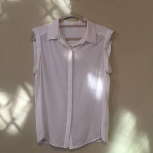 NWOT White Collared Short-Sleeved Blouse